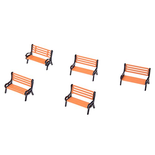 ZAMTAC Practical 5pcs Plastic Model Park Bench Model Landscape 1:50 w/Black Arm