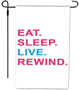 Rikki Knight Eat Sleep Live Rewind Pink & Blue Design Decorative House or Garden Full Bleed Flag, 12 by 18-Inch