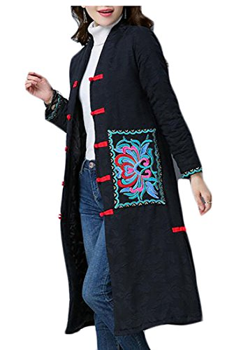 Style today Black UK Lightweight Chinese Down Winter Jacket Women's Cotton Thicken n7nxgT