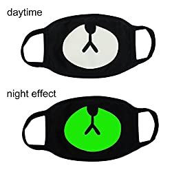 Fomei 5 Pack Cool Luminous Unisex Cotton Blend Anti Dust Face Mouth Mask Black for Man Woman