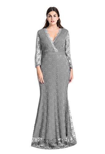 Plus Size Evening Dresses (myfeel Women Plus Size Maxi length Sleeves Lace Dress Event Gowns (2X, Grey))