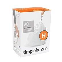 simplehuman Code H Custom Fit Liners, Drawstring Trash Bags, 30-35 L / 8-9 gallon, 60 Count - CW0258