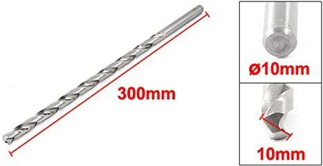 10mm x 300mm straight shank helical drill bit for