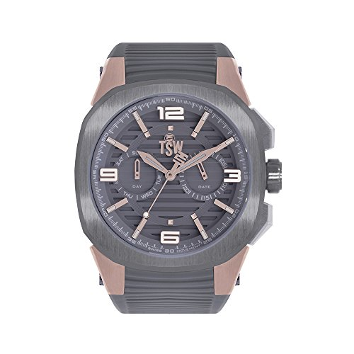 Technosport (TSW) TS-100-PP10 Unisex Gray Swiss Day/Date Watch Silicone Strap Luminous Dial Markers