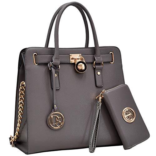 Womens Fashion Handbag Designer Top Belted Padlock Satchel Bag Structured Top Handle Shoulder Bag (2553w-dark -