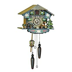 Quartz Cuckoo Clock Black forest house with music, beer drinker, incl. batteries