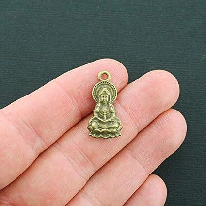 8 Meditation Charms Antique Bronze Tone 2 Sided Goddess Buddha Charm BC1188