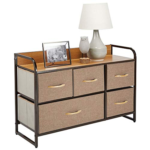 mDesign Wide Dresser Storage Chest, Sturdy Steel Frame, Wood Top, Easy Pull Fabric Bins - Organizer Unit for Bedroom, Hallway, Entryway, Closet - Textured Print, 5 Drawers - Coffee/Espresso Brown