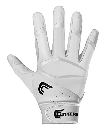 Cutters Gloves Youth Power Control 2.0 Batting Gloves, White/White, Medium (Cutters Batting Glove)