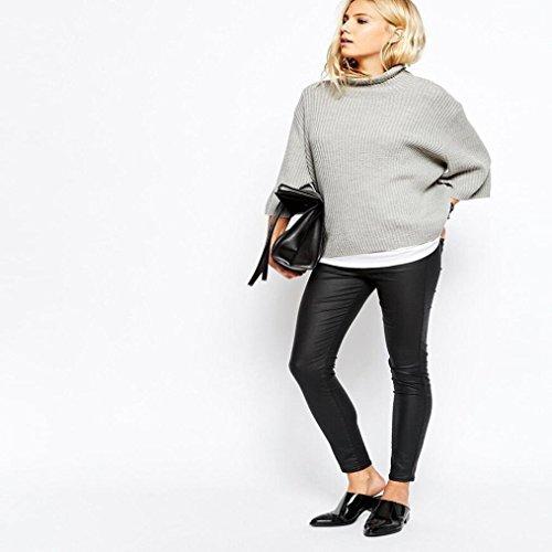 FEITONG Las mujeres del otoño y del invierno rollo de cuello alto Cuello alto Jerseys Suelto Suéter Gris