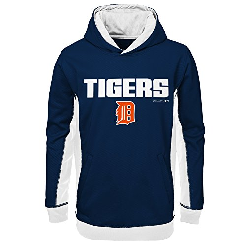OuterStuff MLB Detroit Tigers Youth Boys 8-20 Geo Strike Hood-M (10-12) Tiger Athletic Sweatshirt