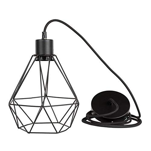 South Shore Industrial Ceiling Hanging Lamp with Geometric Shade, Black
