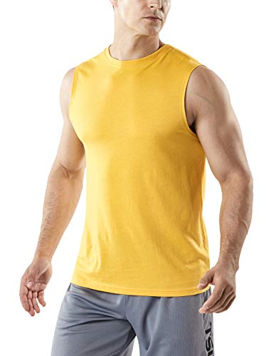 TSLA Men's (Pack of 1 or 3) Workout Muscle Tank Sleeveless Gym Training Active Workout Cool Dry Top Shirt, Dyna Cotton Tank Top(mtn52) - Yellow, X-Large