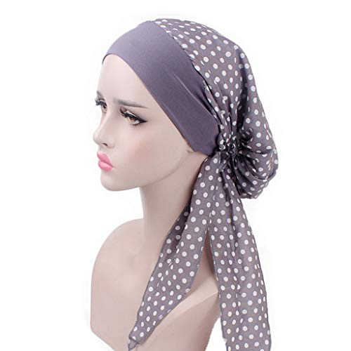 Ladies Party Turban Print Bandanas Women Wide Band Elastic Cotton Cap Head Wrap Hair Loss Night Sleeping Cap Grey (Best Muslim Girl Names In The World)