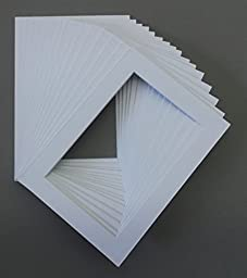 25 5x7 White Picture Mats with White Core, for 4x6 Pictures