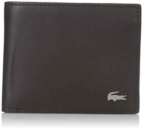 Lacoste Men's Small Slim Billfold with Id Slot , Dark Brown