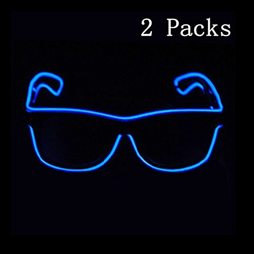 SN-RIGGOR 2 Pairs Light up Illuminated Electroluminescent EL Wire LED Glasses Light Frame Costumes Eyeglasses Voice Control El Light Glowing Party Rave Glasses El Wire Glow Sun Glasses,Blue Light