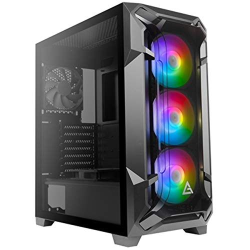 Antec Dark Fleet DF600 Flux, Mid Tower ATX Gaming Case, F-LUX Platform, Tempered Glass Side Panel, USB3.0 x 2, 360 mm Radiator Support, 3 x 120 mm ARGB, 1 x 120 mm Reverse & 1 x 120 mm Fans Included
