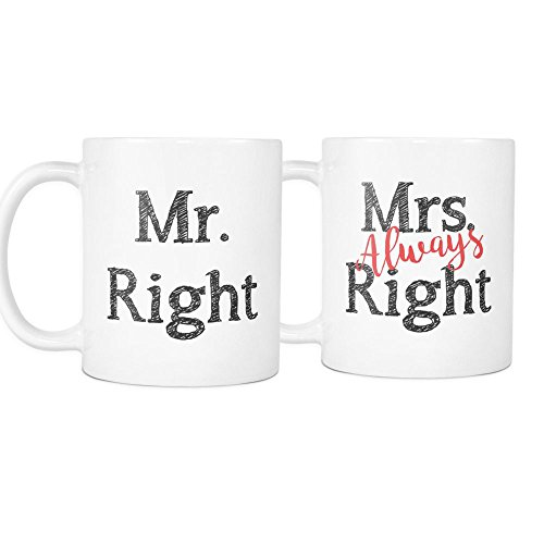 Mr Right and Mrs Always Right Mug Set - Perfect Wedding Couple Anniversary Gift Set - Mr Right Mrs Always Right Tumbler