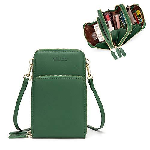 Kingto Cellphone Purse Small Cross body Bag Waterproof Smartphone Wallet Phone Holder for Women (green)