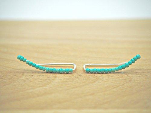 Turquoise ear climber earrings - Dainty earrings - Sterling silver ear climbers - Ear jackets - Ear crawlers