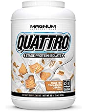Magnum Nutraceuticals Quattro Protein Powder - 2lbs - Toasted Cinnamon Cereal - Protein Isolate - Lean Muscle Creator - Metabolic Optimize