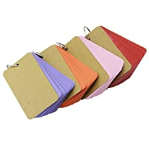 Rancco® 200 Kraft Paper Binder Ring Easy Flip Flash Card Study Cards/ Memo Scratch Pads/ Bookmark/ DIY Greeting Card/ Index Card Stock/ Note Card(4 set, 50 sheets per set)