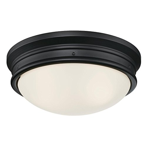 Westinghouse 6324100 Meadowbrook Two-Light Indoor Flush-Mount Ceiling Fixture, Matte Black Finish with Frosted Glass (Sconce Traditional Westinghouse)