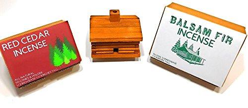 dar and Balsam Fir Incense (Rustic Cedar Log Holder)
