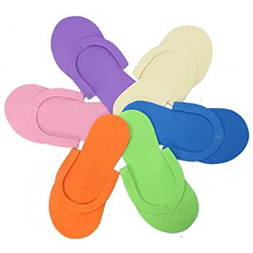 810c881074a458 Amazon.com   Pedicure Flip Flops 12-pair Pack Jandal Spa Slipper Assorted  Color   Bath Mitts And Cloths   Beauty