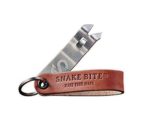 Snake Bite Keychain Bottle Opener and Church Key, The Original Snake Bite, Brown