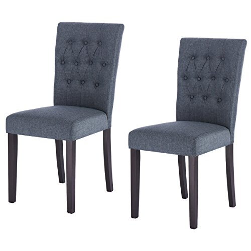 Giantex Set of 2 Fabric Dining Chair Armless Chair Home Kitchen Living Room Furniture (Navy)