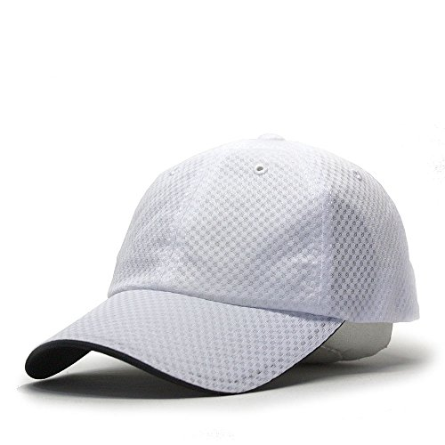 Plain Pro Cool Mesh Low Profile Adjustable Baseball Cap (Athletic Mesh White)
