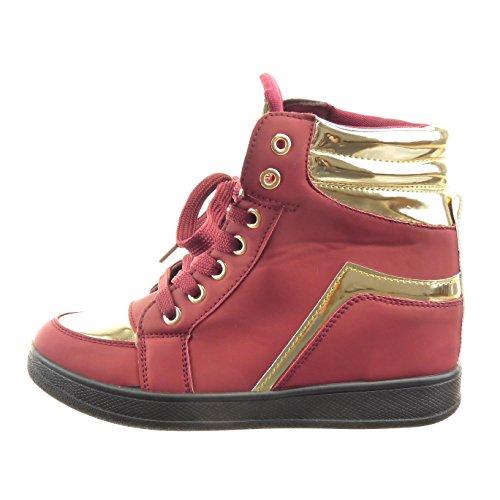 Sopily - Chaussure Mode Basket Compensées montante Cheville femmes doré brillant Talon compensé 6 CM - Rouge