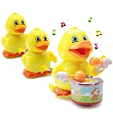 Lydaz Musical Duck Toy, Electronic Walking Duck Car Toys, Yellow Duck Pull Ducklings, Light up Toy for Boys Girls Baby Toddlers Kids