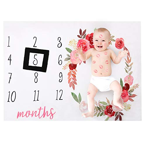 (Baby Monthly Milestone Blanket, Infant Baby Newborn Fleece Month Blanket Swaddling Wrap Photography Photo Props Backdrop with Frame Style Prop for Girls Boys New Mom Baby Shower Gifts (Floral))