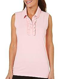 Golf Womens Solid Ruffle Polo Shirt