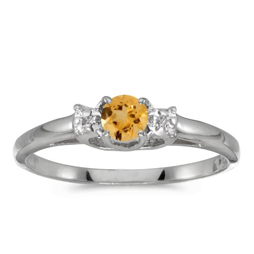 - Jewels By Lux 10k White Gold Genuine Birthstone Solitaire Round Citrine And Diamond Wedding Engagement Ring - Size 5 (0.18 Cttw.)