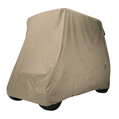 (Classic Accessories Fairway Golf Cart Quick Fit Cover, Khaki, Extra Long Roof)