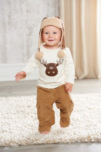 Mud Pie Little Boys' Moose Pant Set, Multi colored, 2T