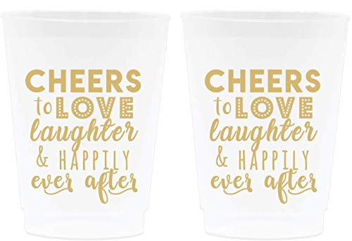 Wedding Cup Decorations - Cheers to Love Laughter and Happily Ever After, Frosted Cups, 16oz - Set of 12, Frosted and Gold - Wedding Supplies for Bridal Showers, Engagements and Bachelorette Parties]()