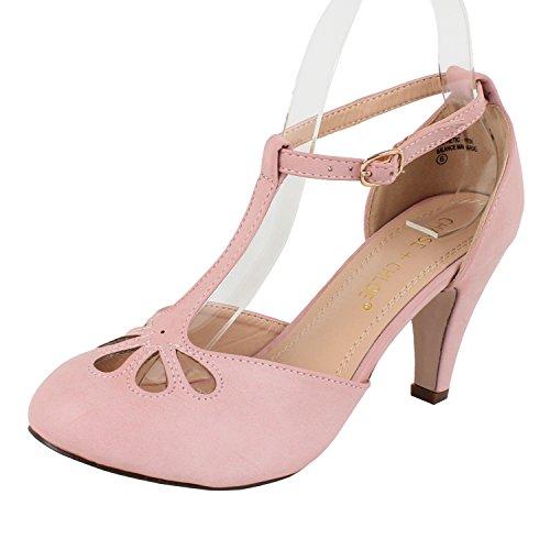 Chase & Chloe Kimmy-36 Women's Teardrop Cut Out T-Strap Mid Heel Dress Pumps (7, Rose Pink ()