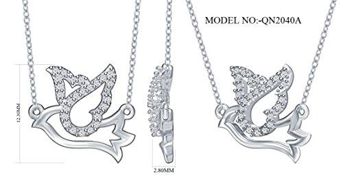 Diamond Dove Pendant Necklace in 925 Silver (0.08cttw, IJ / I2-I3) 18'' by EternalDia (Image #3)