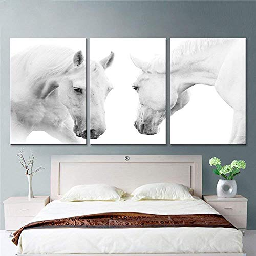 (2 White Horses Canvas Art Prints for Modern Home Wall Decor Stretched Ready to hang (16x24inch)