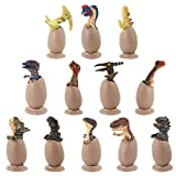 VIIGER 12 PCS Dinosaur Egg Set Dinosaur Figures Dinosaurs Toys Playset Dino Eggs Jurassic Egg for Desktop Decoration Dinosaur Party Favors Easter Eggs Toys for Boys Including T-Rex, Triceratops, Etc