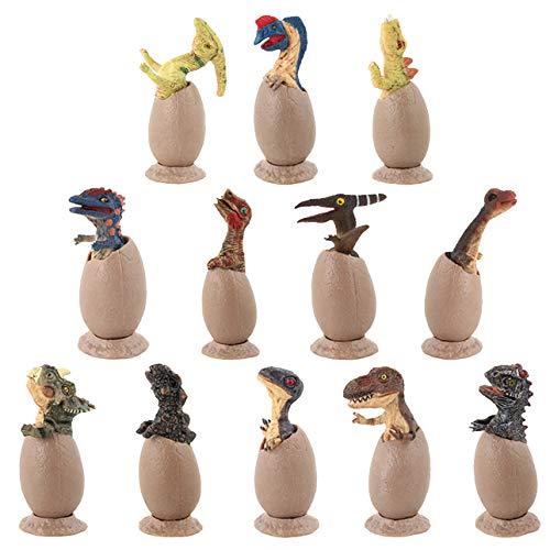 VIIGER 12 PCS Dinosaur Egg Set Dinosaur Figures Dinosaurs Toys Playset Dino Eggs Jurassic Egg for Desktop Decoration Dinosaur Party Favors Easter Eggs Toys for Boys Including T-Rex, Triceratops, Etc by VIIGER