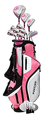 Precise M5 Ladies Womens Complete Right Handed Golf Clubs Set Includes Titanium Driver, S.S. Fairway, S.S. Hybrid, S.S. 5-PW Irons, Putter, Stand Bag, 3 H/C's Pink from Precise Golf