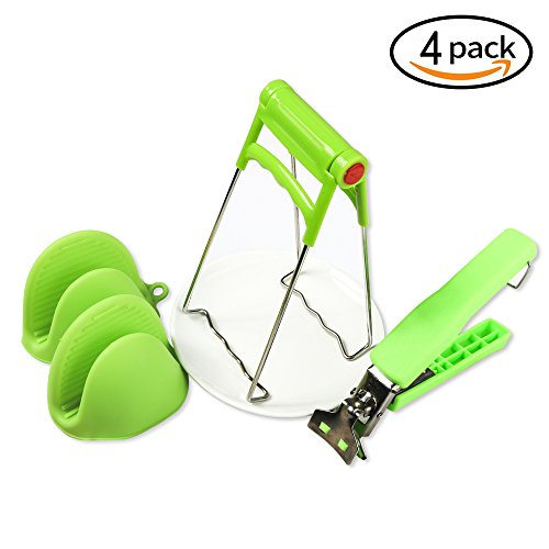 Plate Clips - 4Packs Bowl Clip+ Plate Gripper + Heat Resistant Silicone Cooking Pinch Mitts Grips, Stainless Steel Folding Retriever Lifter Tongs for Hot Dishes,Plates, Bowl Instant Pots Crockery Holder Clamp (绿色)