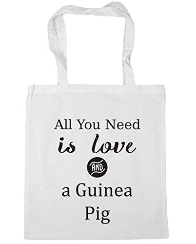 HippoWarehouse All You Need is Love und Guinee Schwein Einkaufstasche Fitnessstudio Strandtasche 42cm x38cm, 10 liter - Weiß, One size