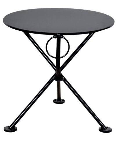 Bistro Table 20 Round - Mobel Designhaus French Café Bistro 3-leg Folding Coffee Table, Jet Black Frame, 20